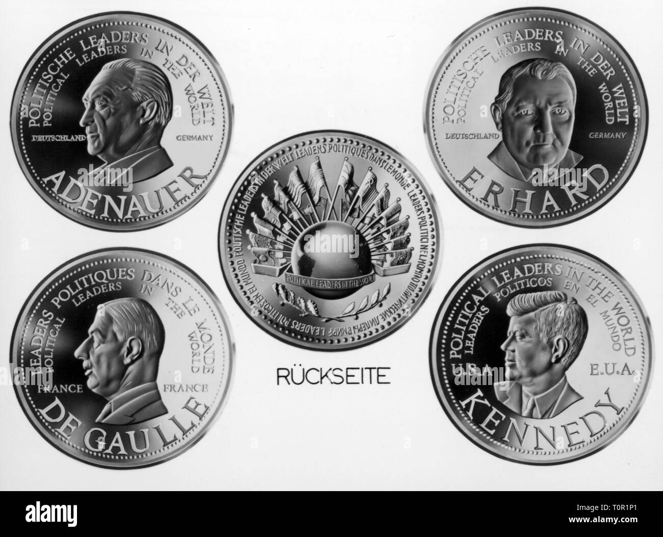 money / finances, coins, collectors' coins, series 'Political Leaders of the World', Numismatique Francais, 1963, Additional-Rights-Clearance-Info-Not-Available - Stock Image