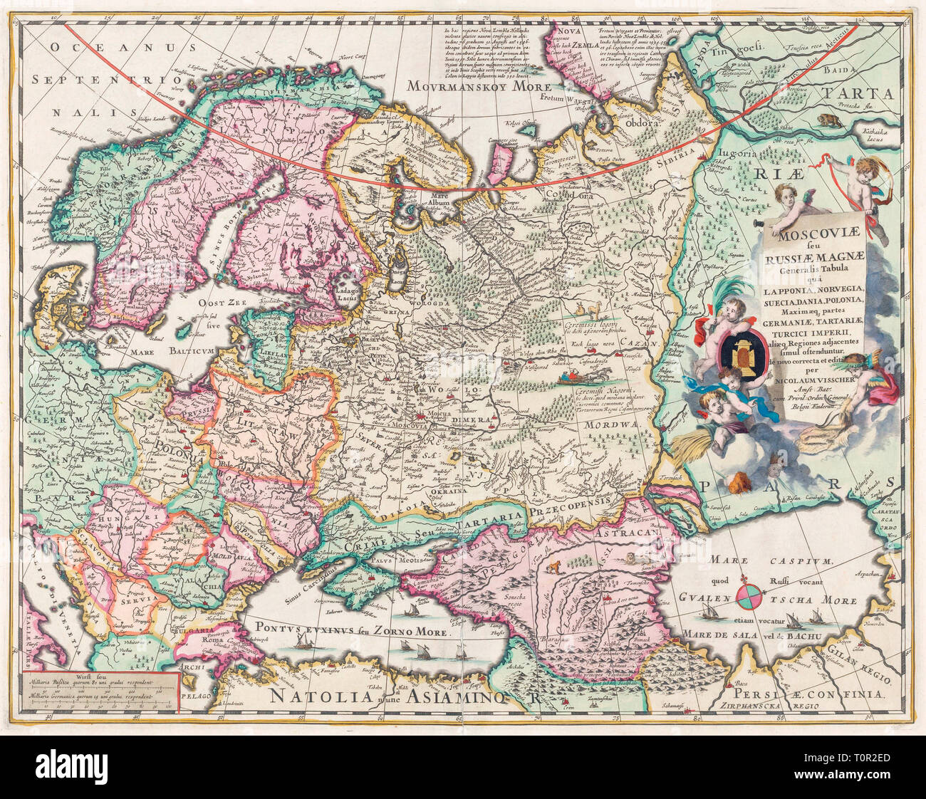 17th century map of Russia and surrounding countries by ...