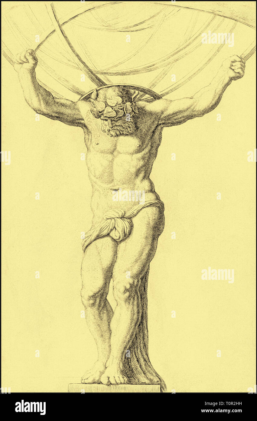 Atlas holding up the heavens.  After an 18th century engraving.  Colourised.  Atlas was a Titan condemned to hold up the heavens for eternity after the defeat of the Titans by the Olympians in the Battle of the Gods, or Titanomachy - Stock Image