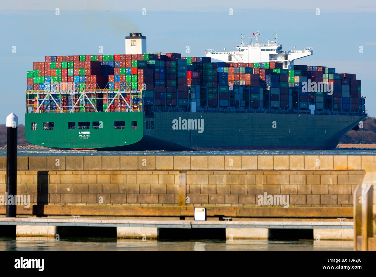 Taurus,Valletta,registered,Container Ship in The Solent,heading towards Southampton,terminal, off Cowes, isle of Wight, England,UK, - Stock Image