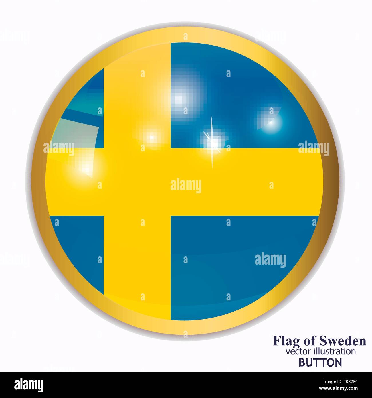 Bright button with flag of Sweden. Happy Sweden day background. Bright illustration with flag. - Stock Image