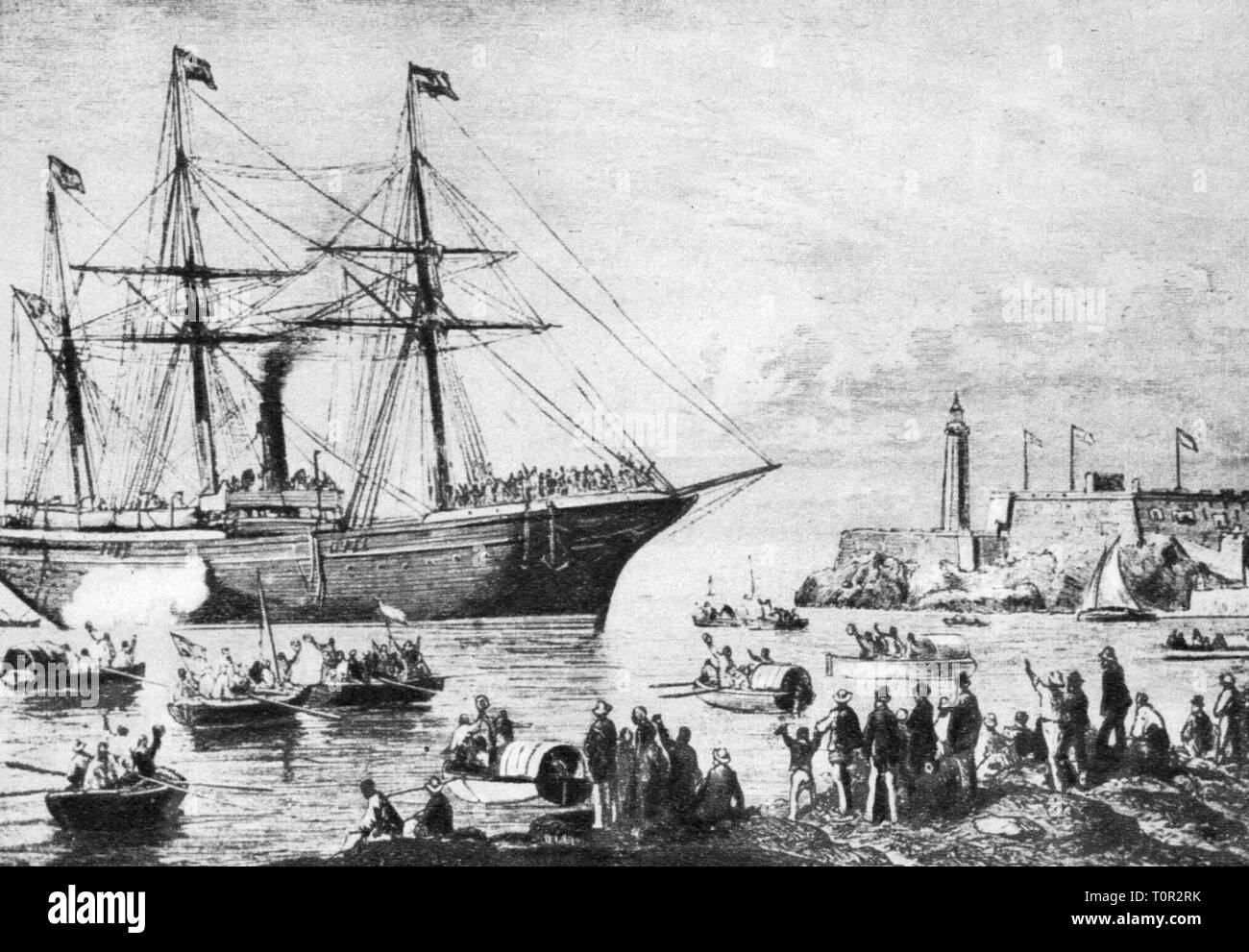Ten Year's War 1868 - 1878, Spanish volunteers embark for Cuba, Barcelona, 1870, contemporary wood engraving, Cuban Wars of Independence, harbour, harbor, harbours, harbors, ports, boats, boat, transport, colonial war, Spain, America, 19th century, people, war, wars, volunteer, volunteers, ships, ship, historic, historical, Additional-Rights-Clearance-Info-Not-Available - Stock Image