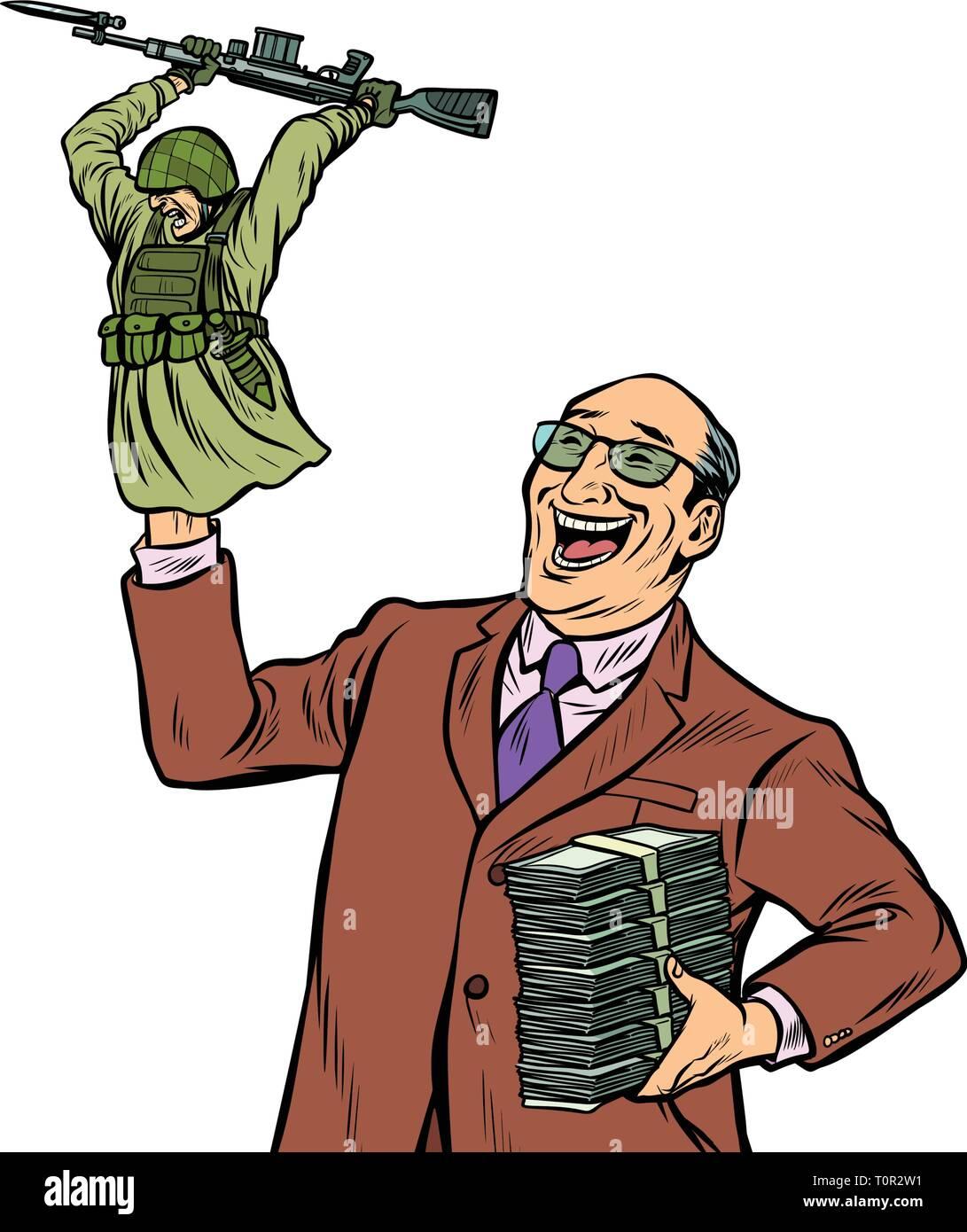 War propaganda. Soldier attacks. Politician with money. Pop art retro vector illustration kitsch vintage - Stock Vector