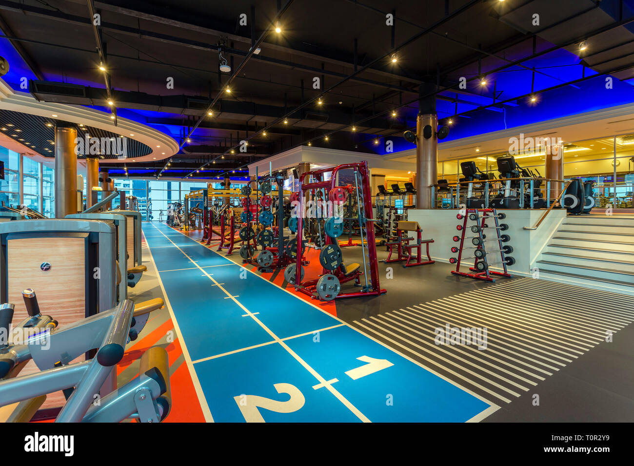 Interior of Cascade Club and Spa health club fitness centre located in Bangkok, Thailand. - Stock Image