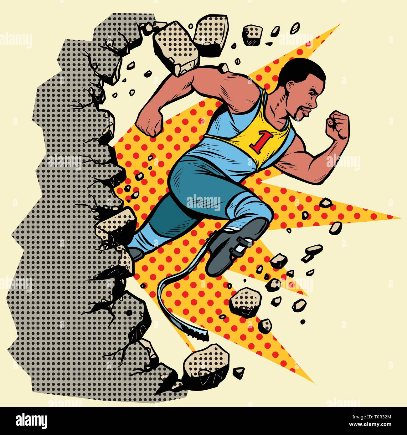 breaks the wall. disabled African runner with leg prostheses running forward. sports competition. Pop art retro vector illustration vintage kitsch - Stock Vector