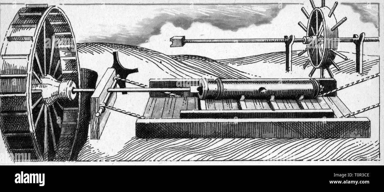 industry, arms industry, machinery, gun boring machine, driven by water power, copper engraving, circa 1540, Additional-Rights-Clearance-Info-Not-Available - Stock Image