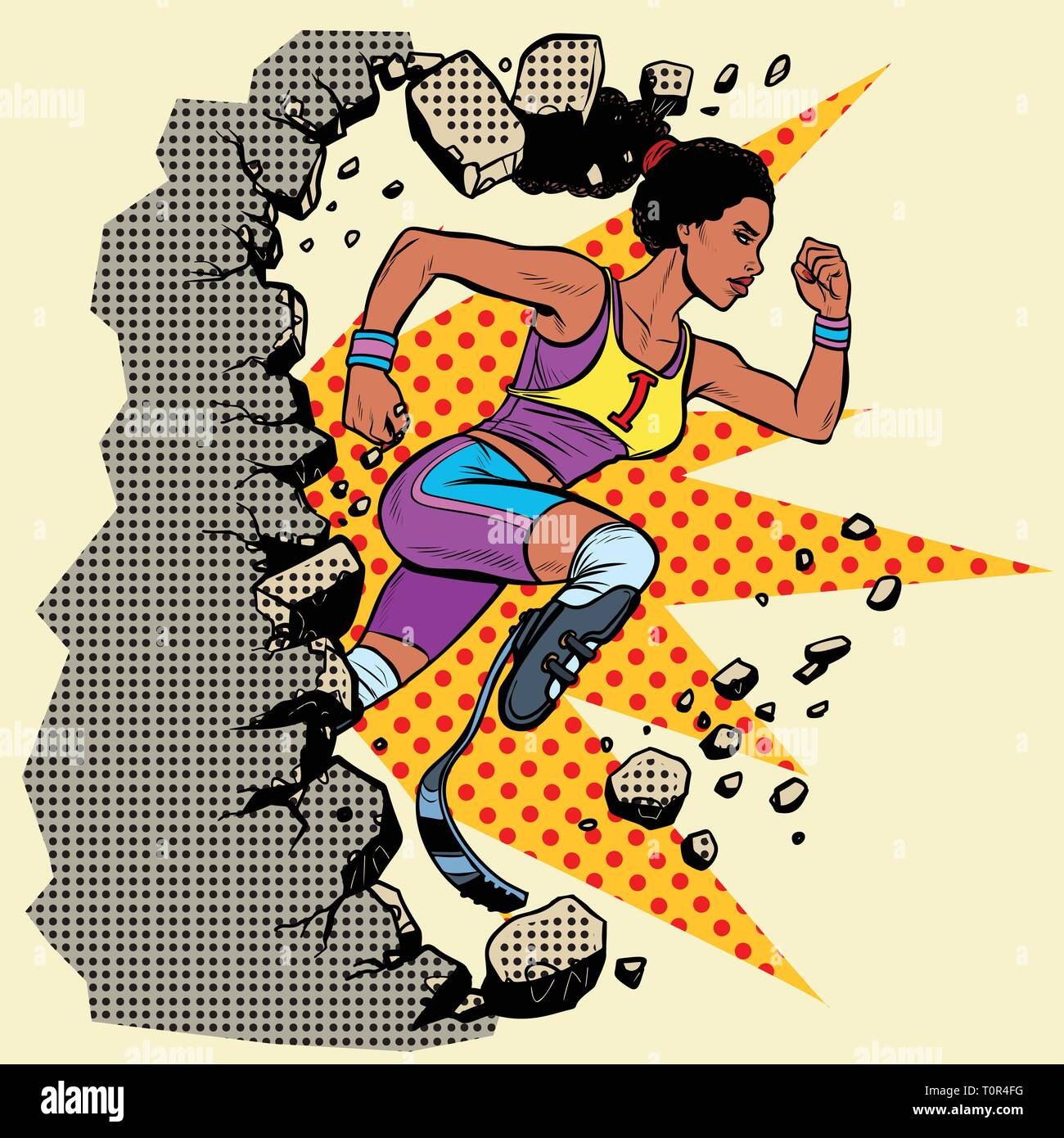 breaks the wall disabled African woman runner with leg prostheses running forward. sports competition. Pop art retro vector illustration vintage kitsc - Stock Vector