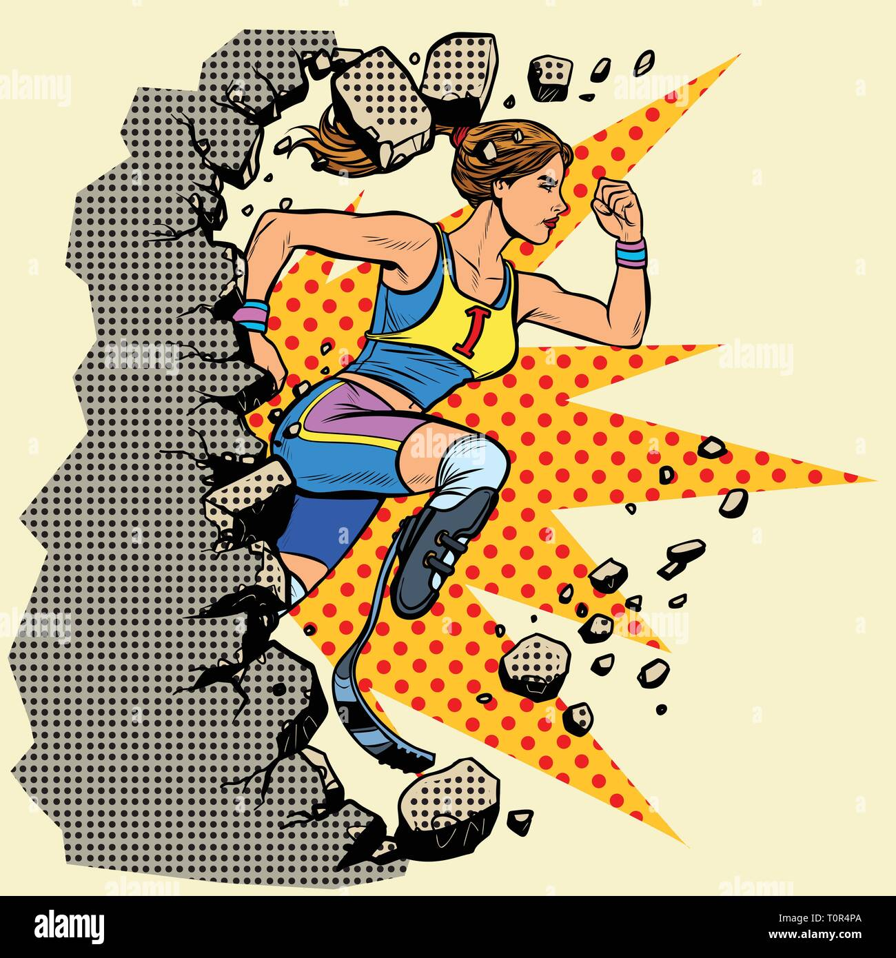 breaks the wall disabled woman runner with leg prostheses running forward. sports competition. Pop art retro vector illustration vintage kitsch - Stock Vector