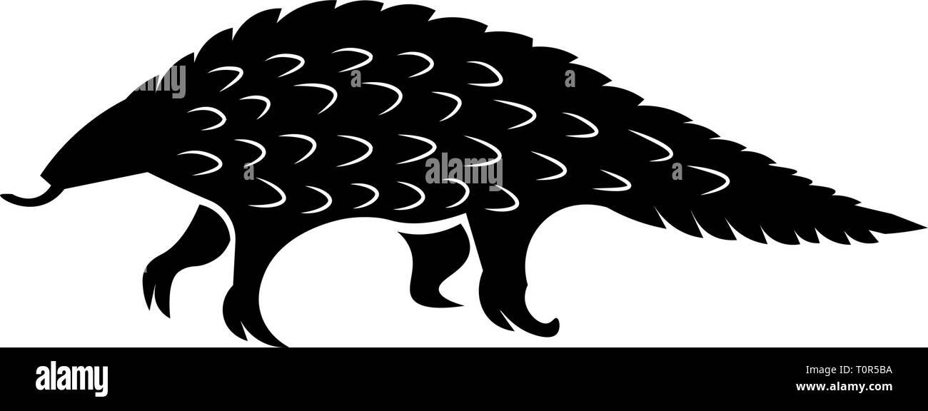 This vector image shows a standing african pangolin in glyph icon design. It's isolated on a white background. - Stock Image
