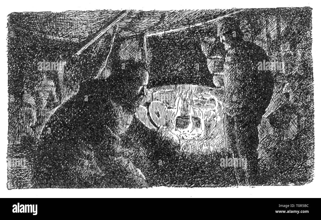 expedition, polar expedition, Fram expedition 1893 - 1896, Fridtjof Nansen and Fredrik Hjalmar Johansen in their winter hut, from: Fridtjof Nansen, 'In Nacht und Eis', volume II, Leipzig, 1897, 19th century, expedition report, report, reports, travel, travels, research, discovery, discoveries, arctic, Arctic Ocean, Fram, North Polar Sea, North Pole, Arctic region, North Pole territory, graphic, graphics, drawing, camp, camps, hut, huts, interior view, campfire hearth, fire, pot, pots, cook, cooking, boil, boiling, boiled, polar expedition, polar , Additional-Rights-Clearance-Info-Not-Available - Stock Image