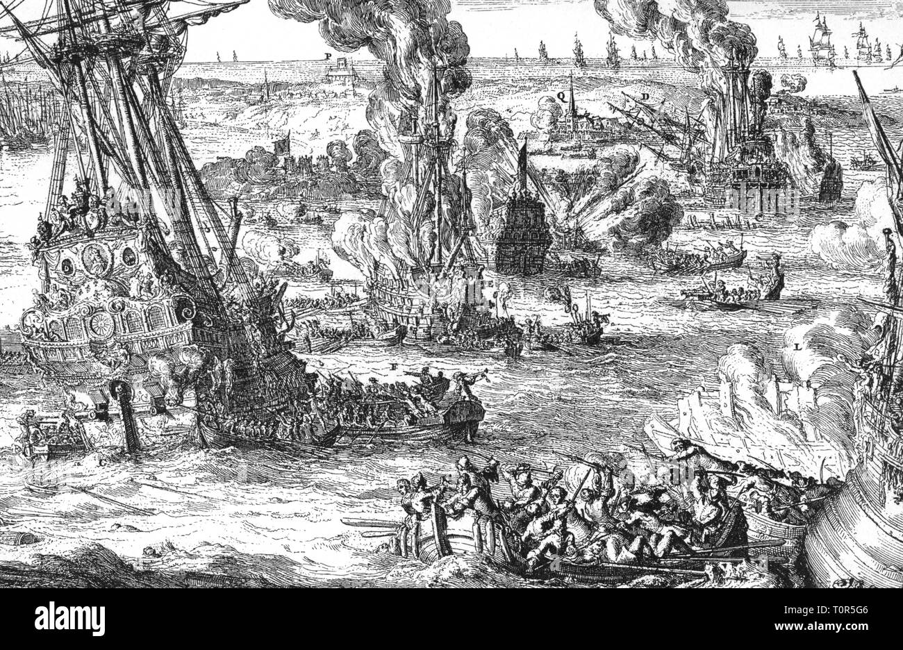 Nine Years' War 1688 - 1697, naval battles of Barfleur and La Hogue, 29.5. - 4.6.1692, destruction the French fleet, contemporary copper engraving by Romeyn de Hooghe, detail, War of the Palatinate Succession, War of the League of Augsburg, War of the Great Alliance, France, United Netherlands, England, navy, naval warfare, ship, ships, warship, warship, fire, fire, blaze, burning, sea, English Channel, Wars of the Reunions, 17th century, people, historic, historical, battle, Additional-Rights-Clearance-Info-Not-Available - Stock Image