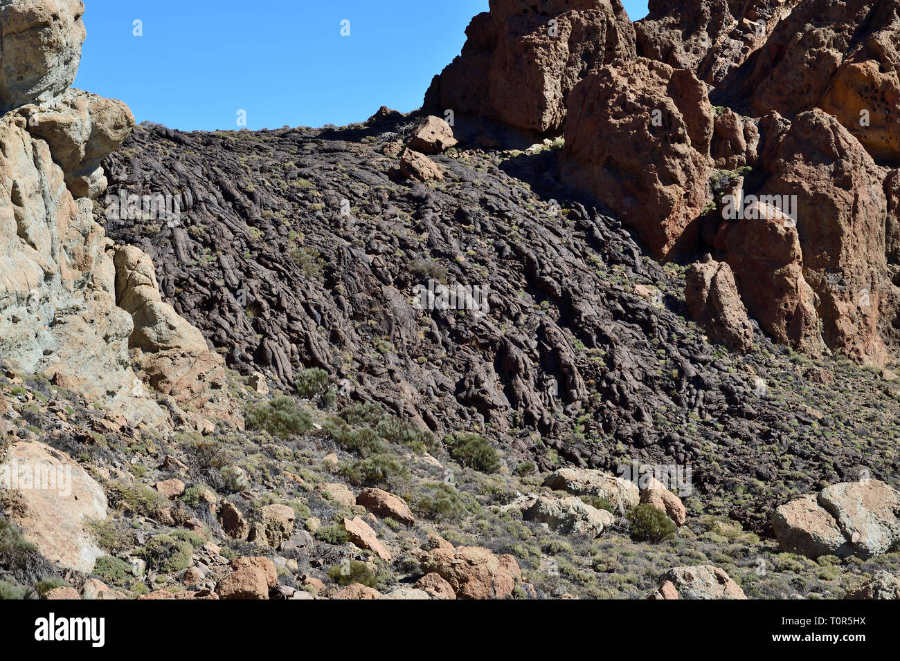 View of a lava field in Teide National Park in Tenerife - Stock Image