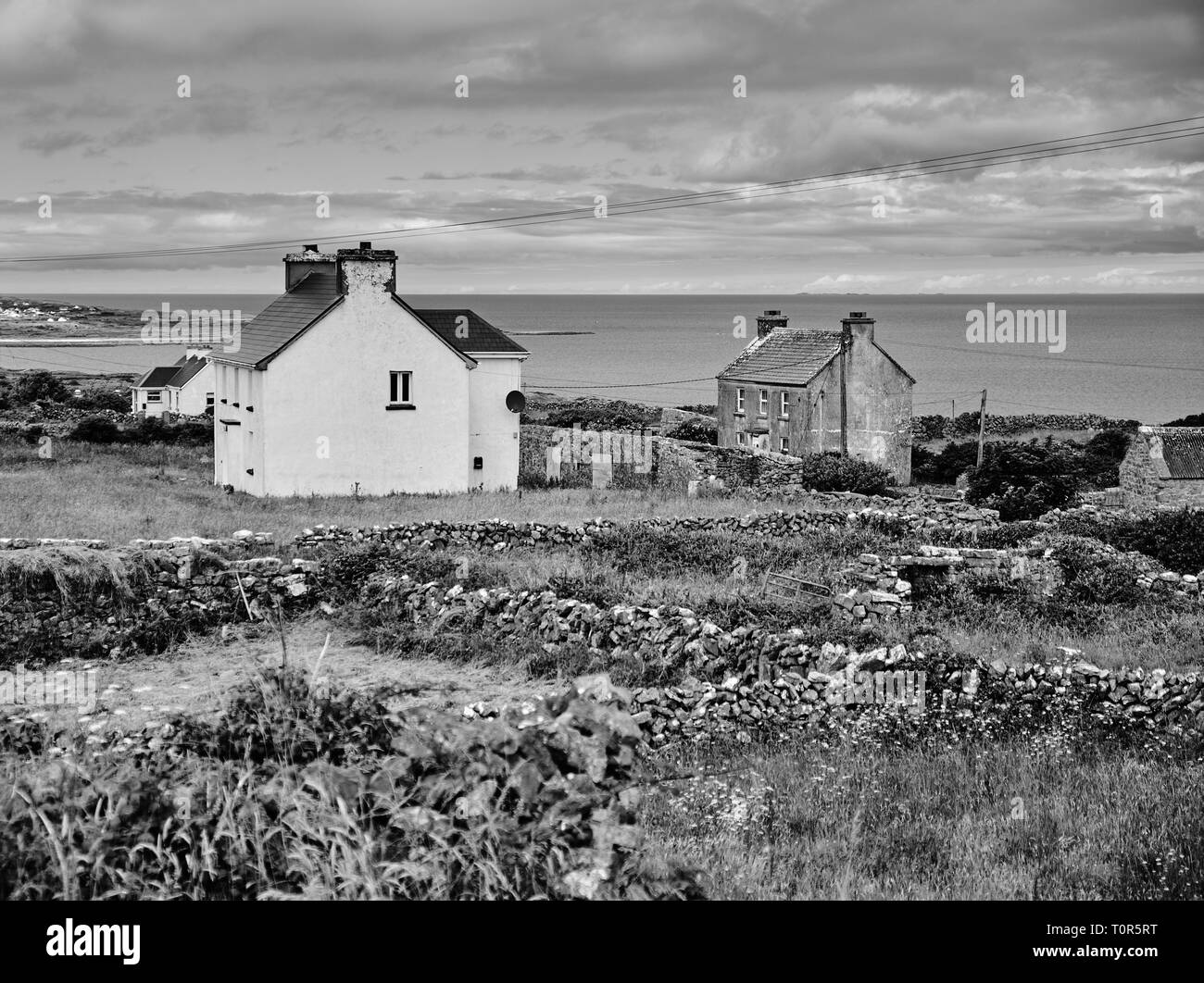Irish country side scenery, with rock fences, little houses and ocean in background. Black and white - Stock Image