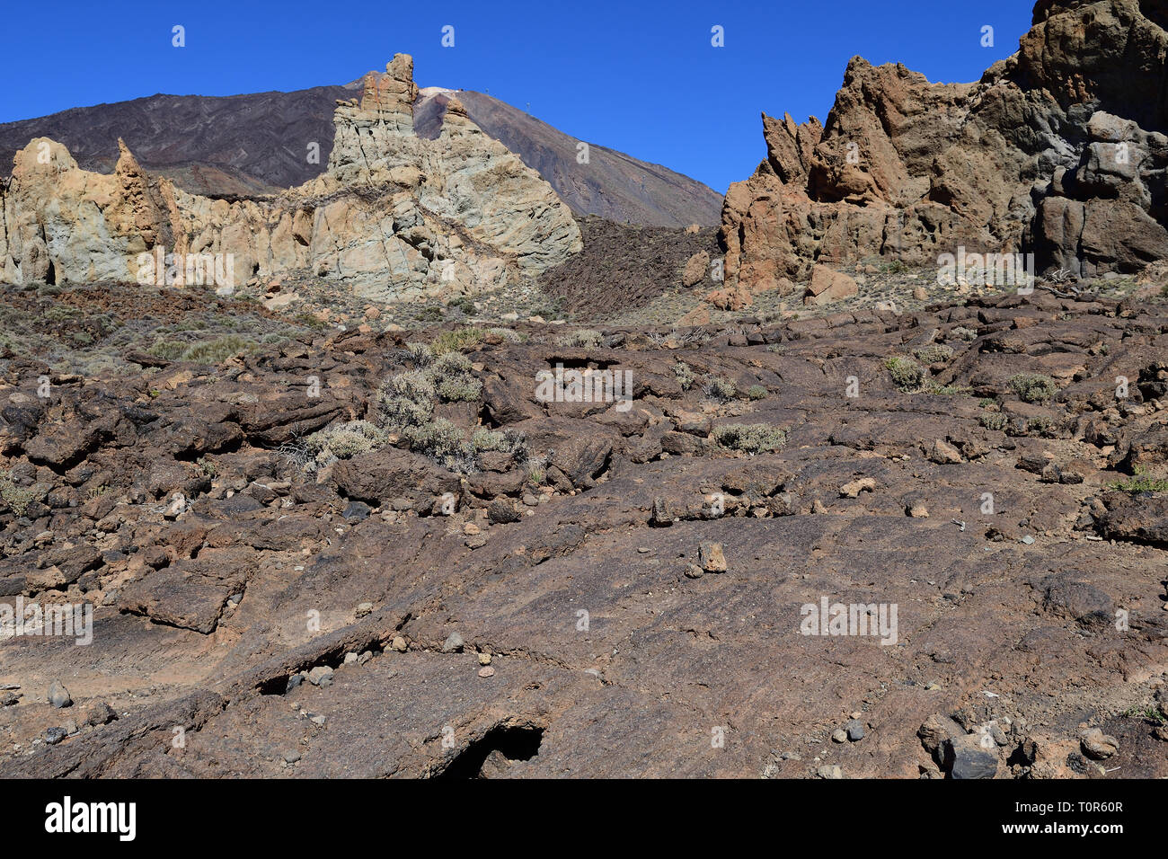 View of a lava field in Tiede National Park in Tenerife - Stock Image