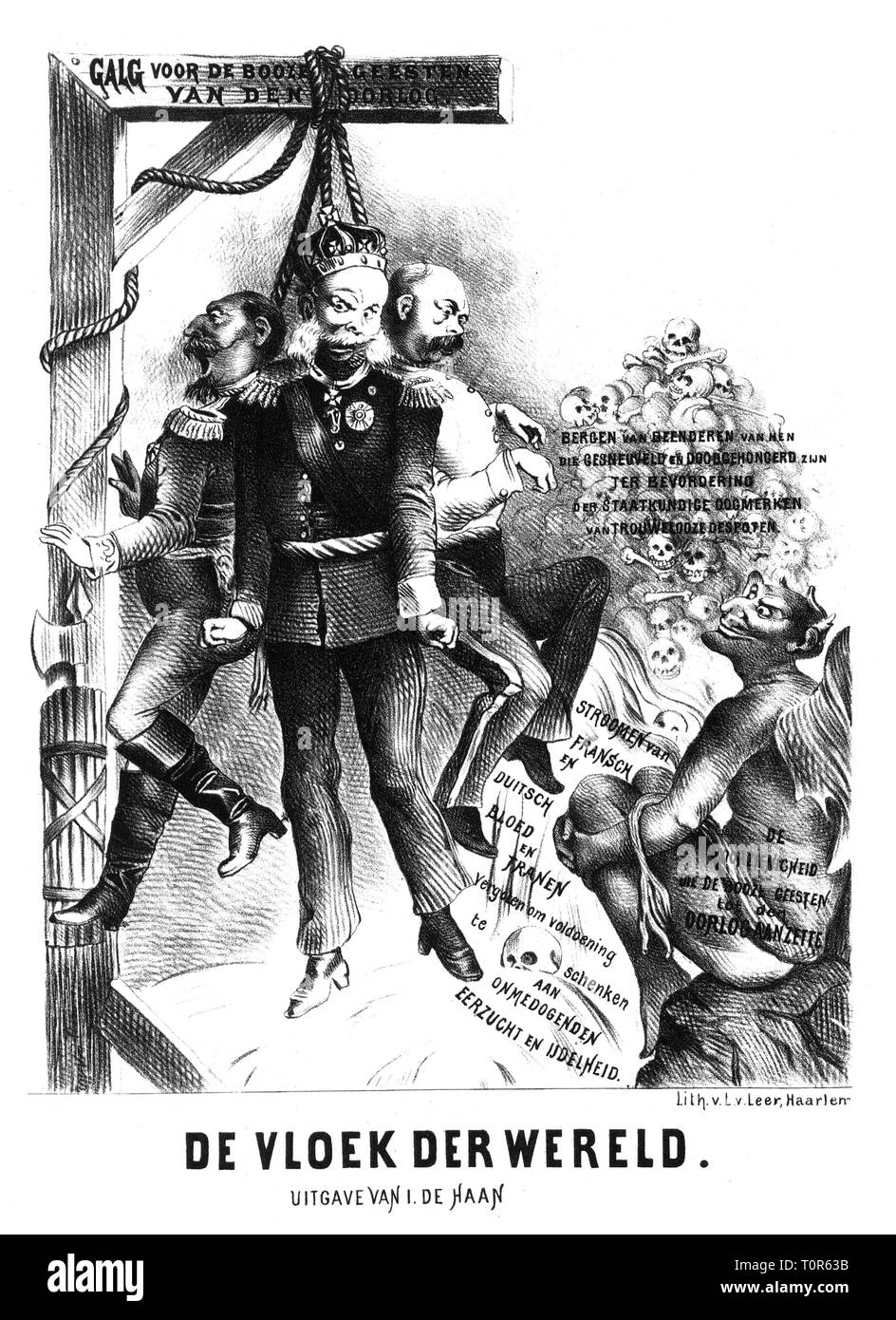Franco-Prussian War 1870 - 1871, caricature, Emperor Napoleon III, Emperor William I and Otto von Bismarck hanging at gallows for the evil spirits of war, 'The Curse the World', lithograph by Leer, Haarlem, 1870 - 1871, satire, caricature, caricatures, cartoon, cartoons, Dutch press, Netherlands, king of Prussia, Prime Minister, France, devil, devils, skull, skulls, dead, German - French, people, men, man, male, manly, 19th century, historic, historical, Additional-Rights-Clearance-Info-Not-Available - Stock Image