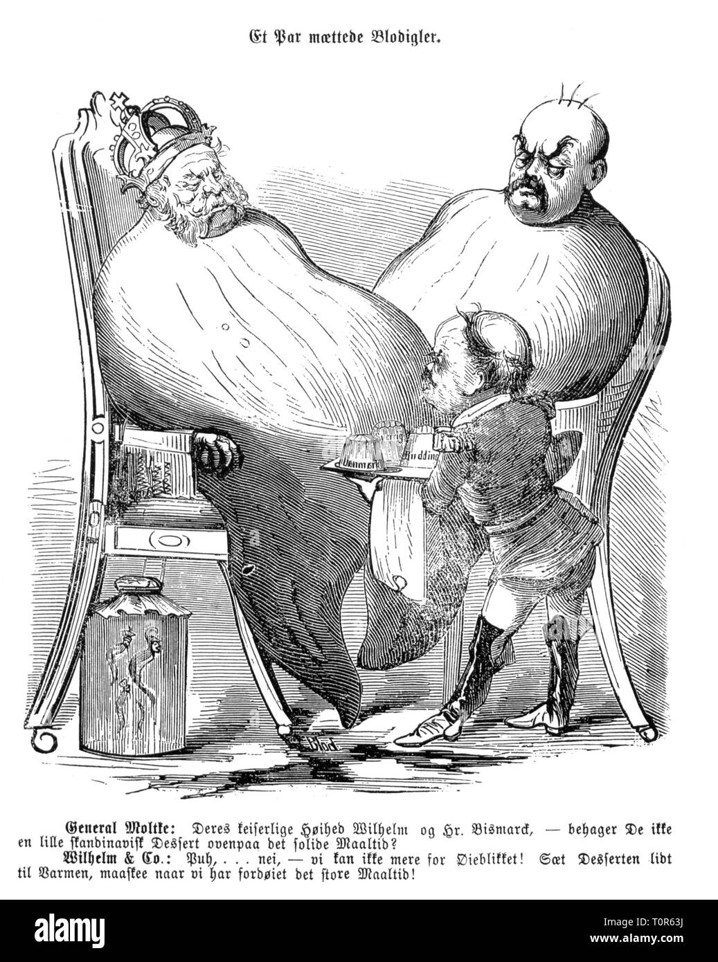 Franco-Prussian War 1870 - 1871, caricature, Helmuth von Moltke offering William I and Otto von Bismarck Denmark and Sweden for dessert, 'A couple of well-fed leeches', drawing, 'Folkets Nisse', Copenhagen, 25.3.1871, satire, caricature, caricatures, cartoon, cartoons, Danish press, German - French, Imperial Chancellor, German Empire, Germany, emperor, emperors, king of Prussia, general, generals, victor, victors, full, well-fed, offering, people, 19th century, historic, historical, Additional-Rights-Clearance-Info-Not-Available - Stock Image