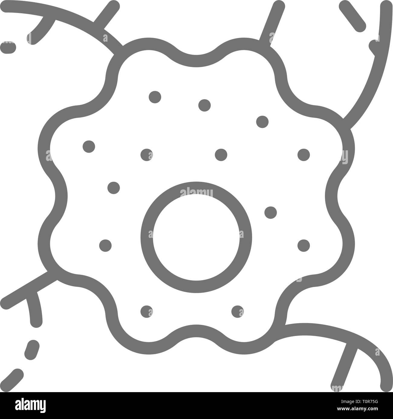 Nerve cell, neuron, human anatomy line icon. - Stock Image