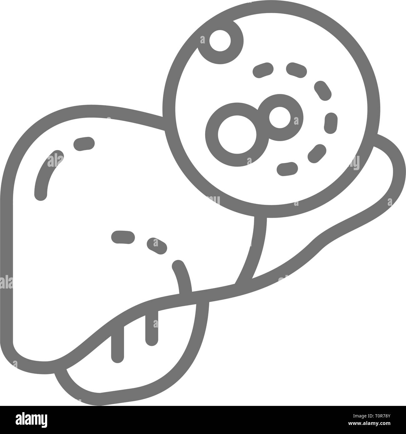 Liver cancer, malignant tumor, oncology line icon. - Stock Image