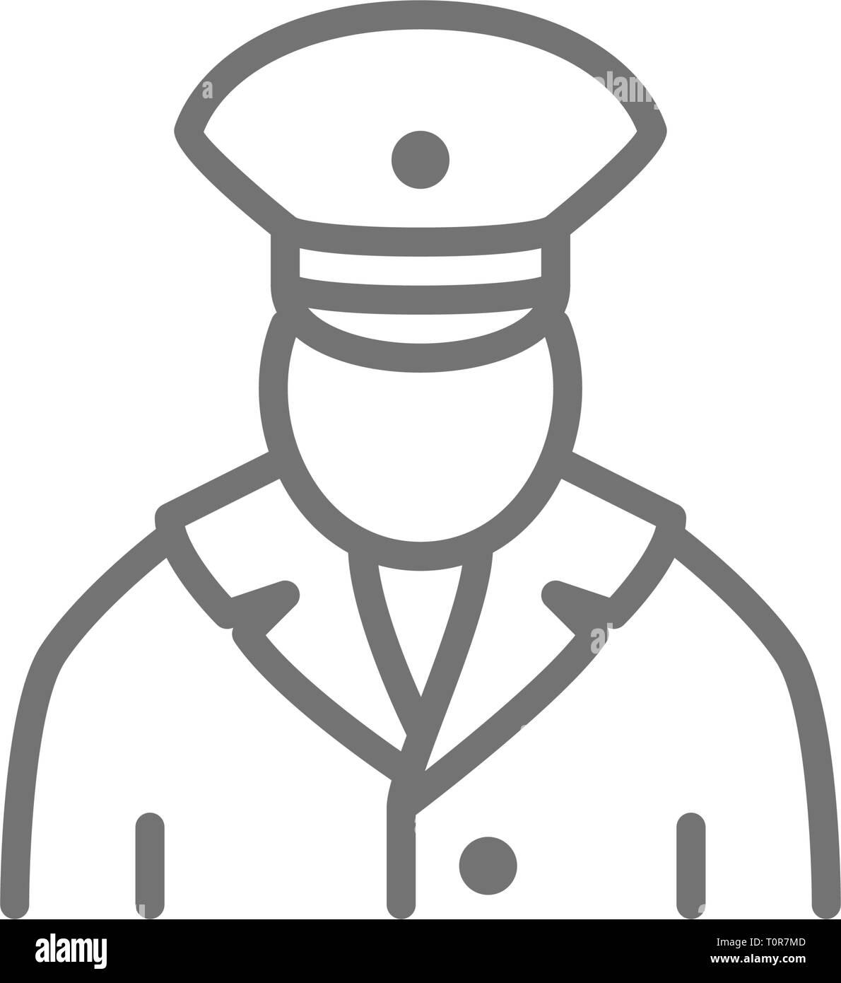 Railway worker, train conductor, subway line icon. - Stock Vector