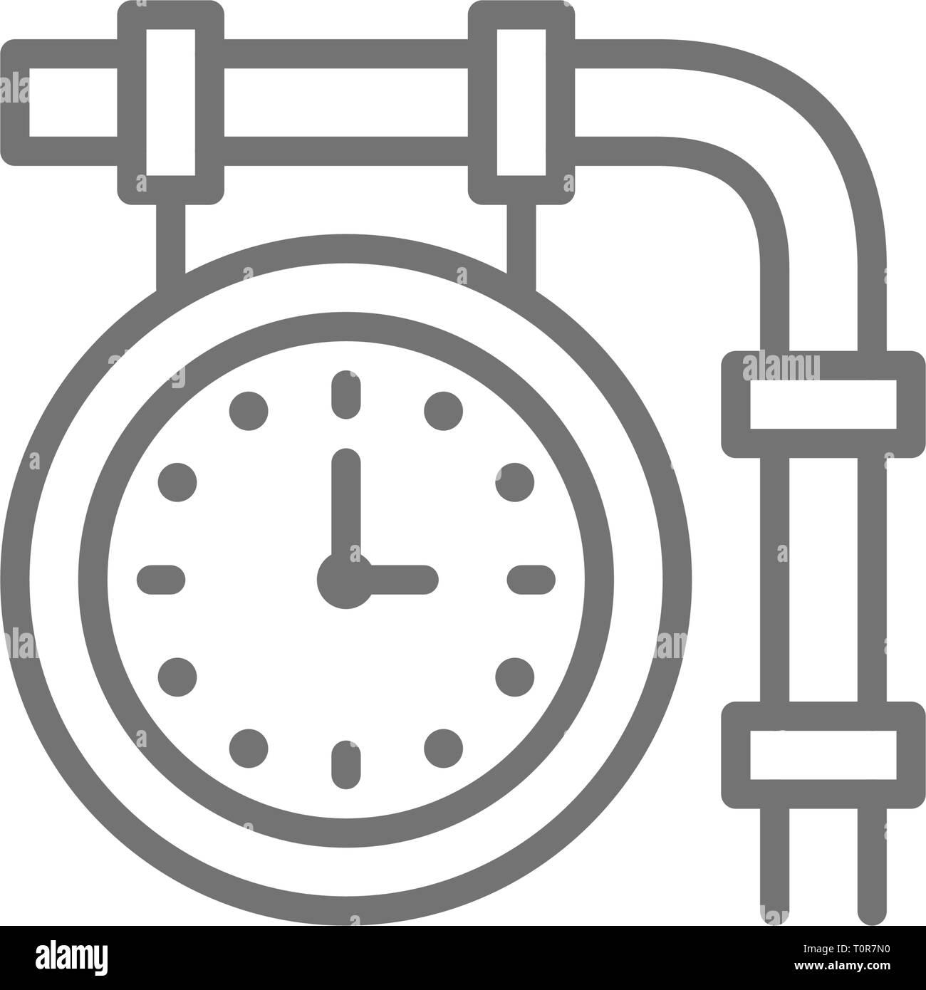 Train station clock, railroad platform time line icon. - Stock Vector