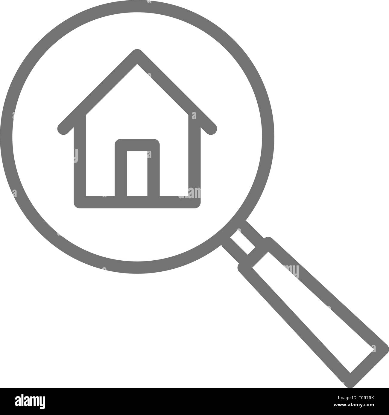 Magnifying glass with house, apartment search line icon. - Stock Vector