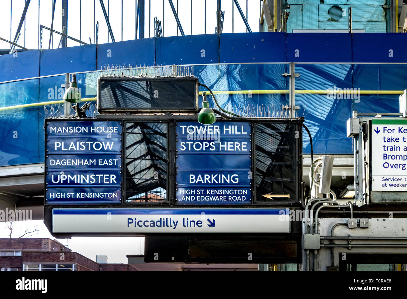 Vintage blue train indicator  or departure boards at Earls Court Underground Station , London SW5 - Stock Image