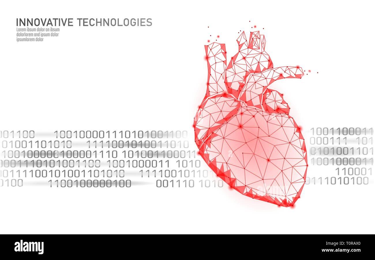 Healthy human heart beats 3d medicine model low poly