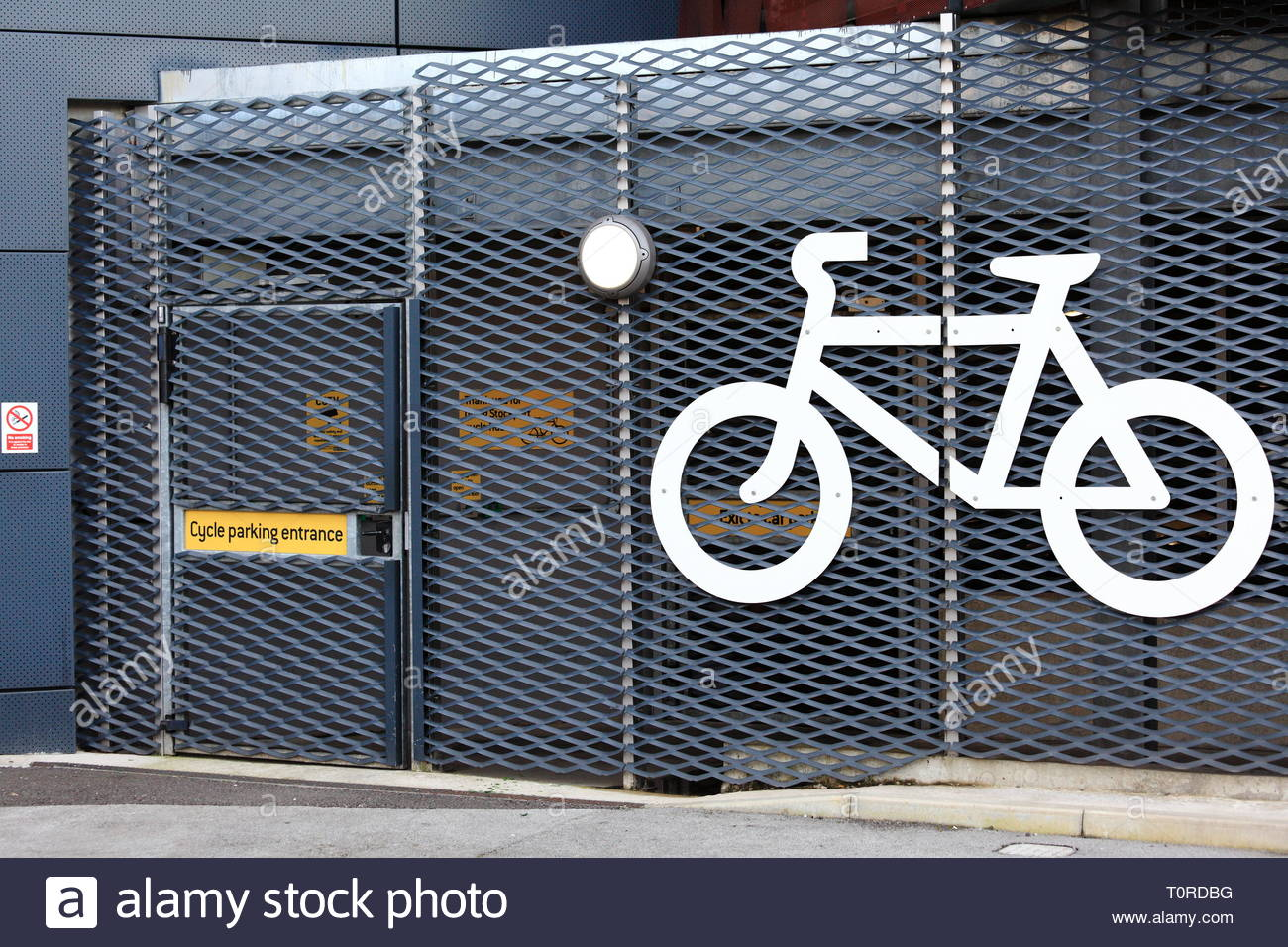A bicycle parking station at stockport railway station at Stockport UK - Stock Image