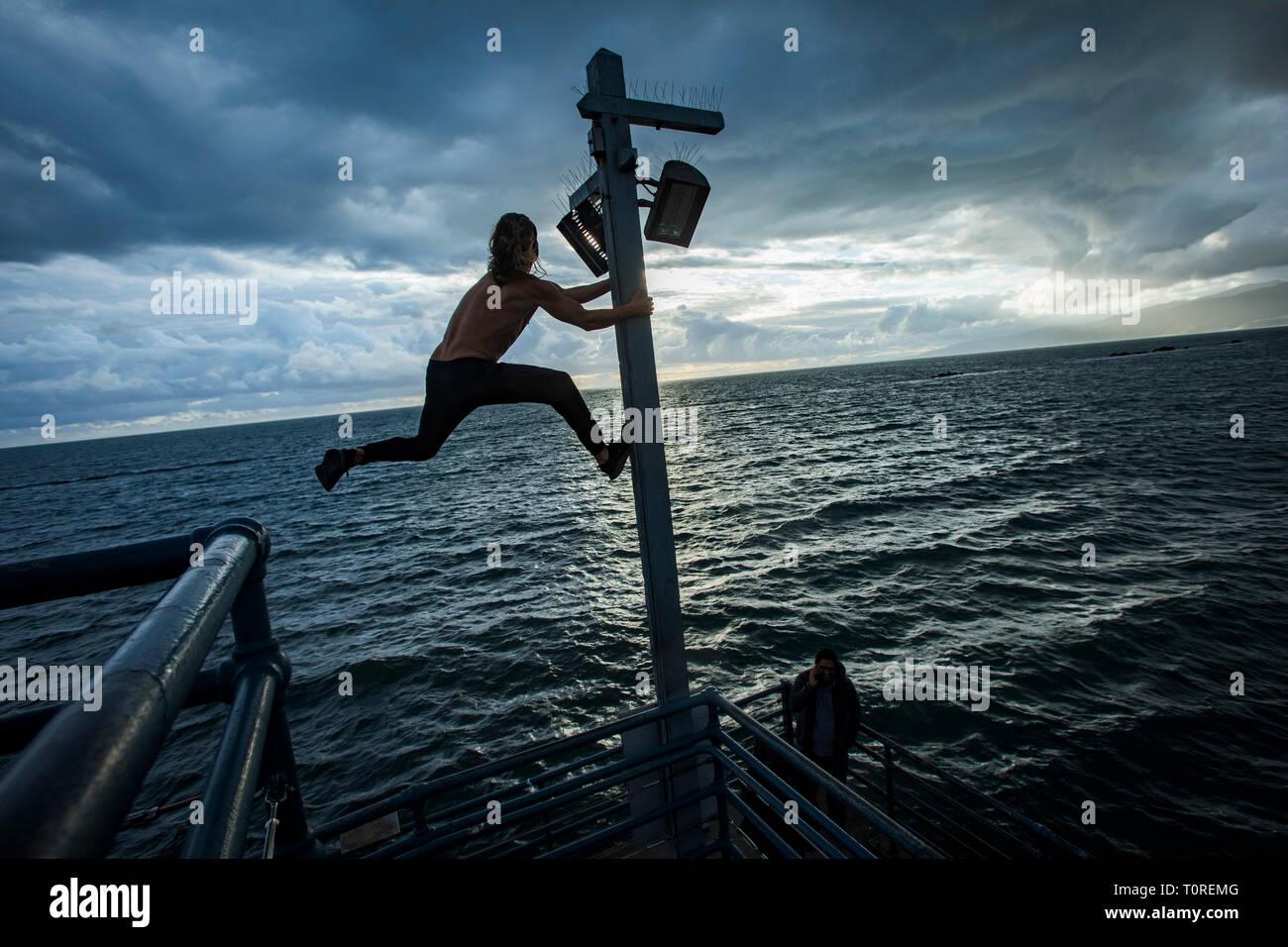 Stuntman /athlete Kane Serafin at the Pier, Santa Monica, Los Angeles, California, USA - Stock Image