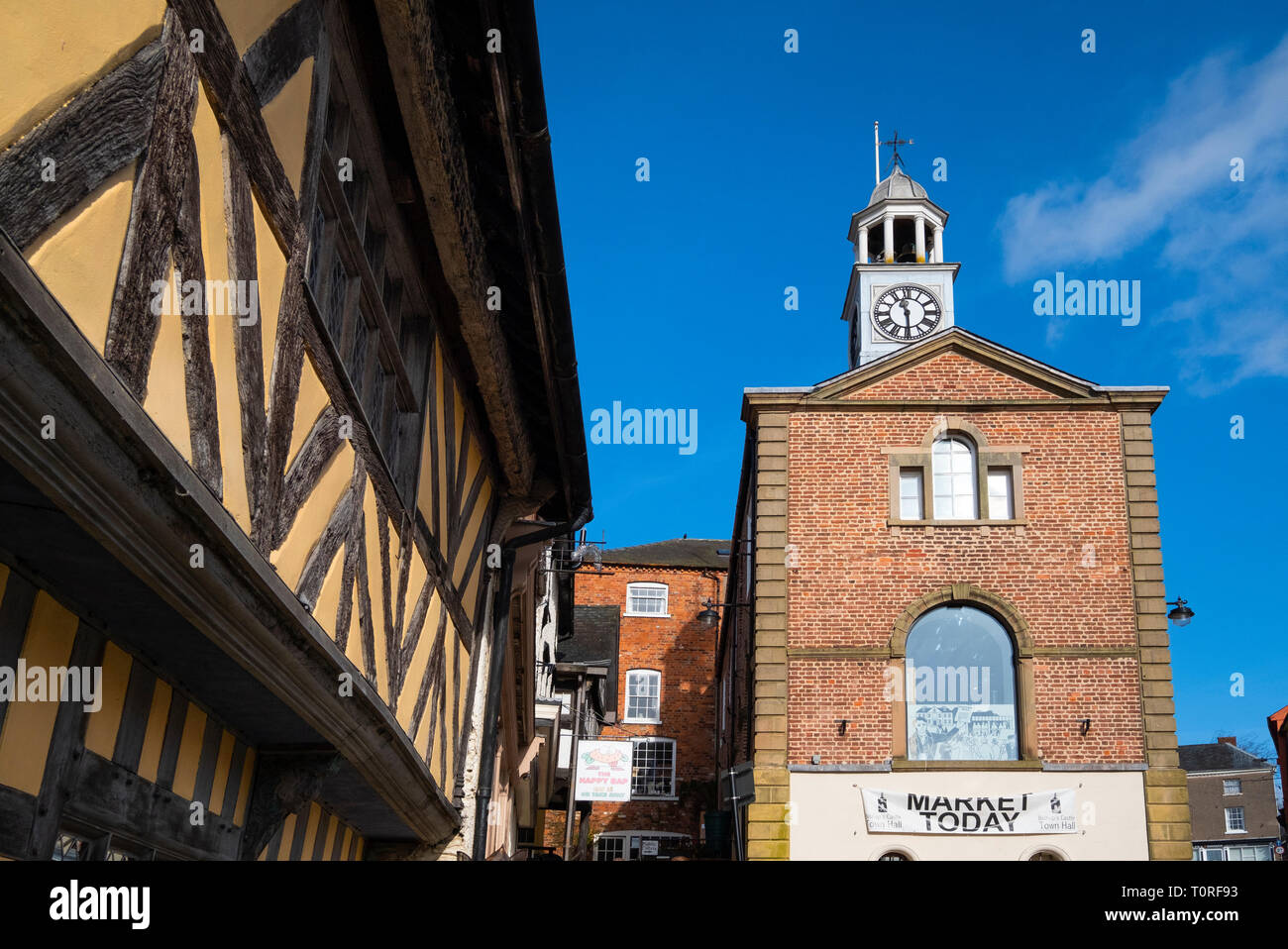Town Hall and half timbered building in Bishops Castle, Shropshire, England, UK - Stock Image