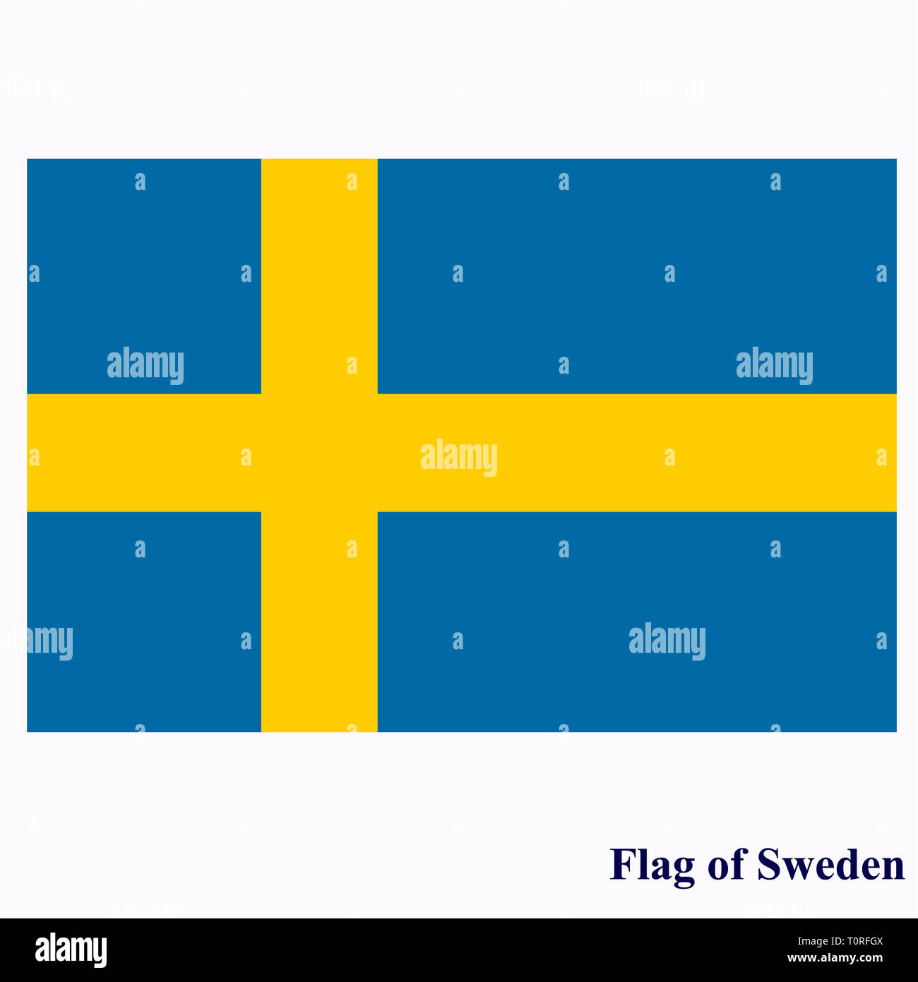 Bright button with flag of Sweden. Happy Sweden day background. Bright illustration with flag . - Stock Image