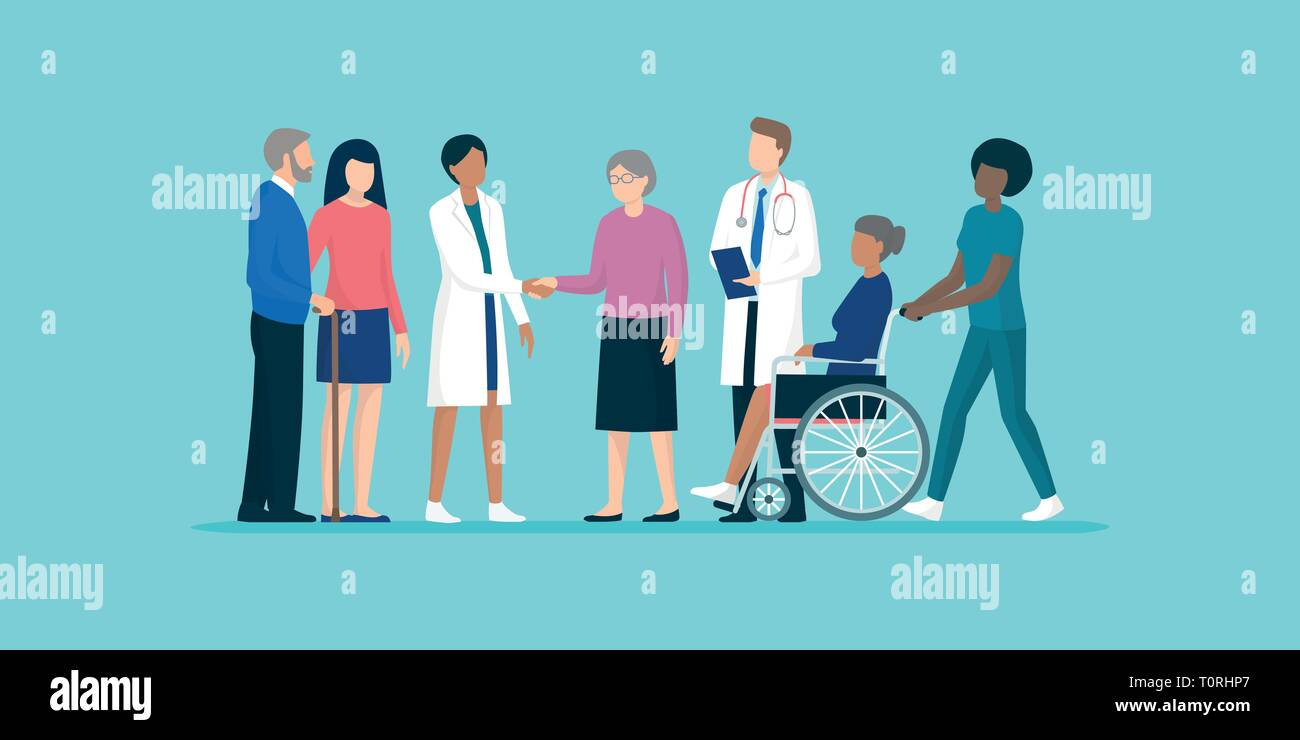 Professional caregivers and doctors meeting and supporting senior citizens and their families, senior care and medical assistance concept - Stock Vector