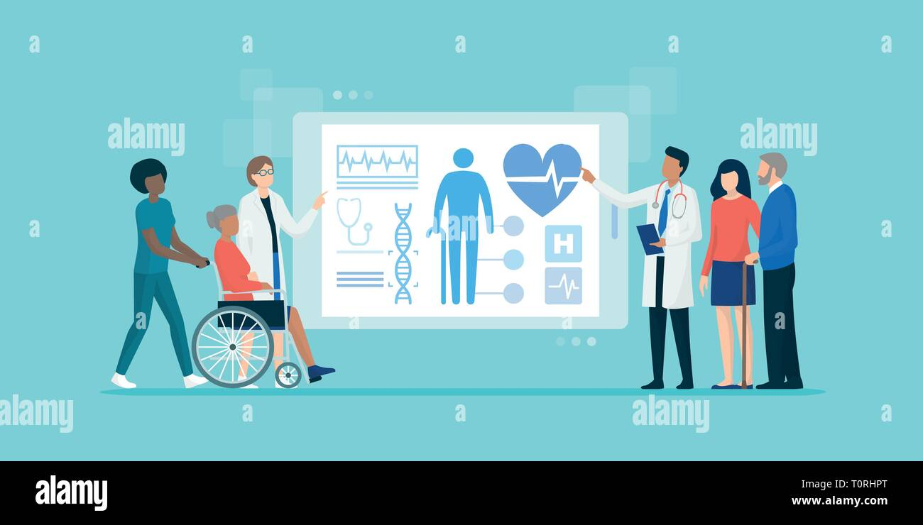 Professional medical team examining senior patients using medical apps on a digital tablet, they are checking their medical records and health - Stock Vector