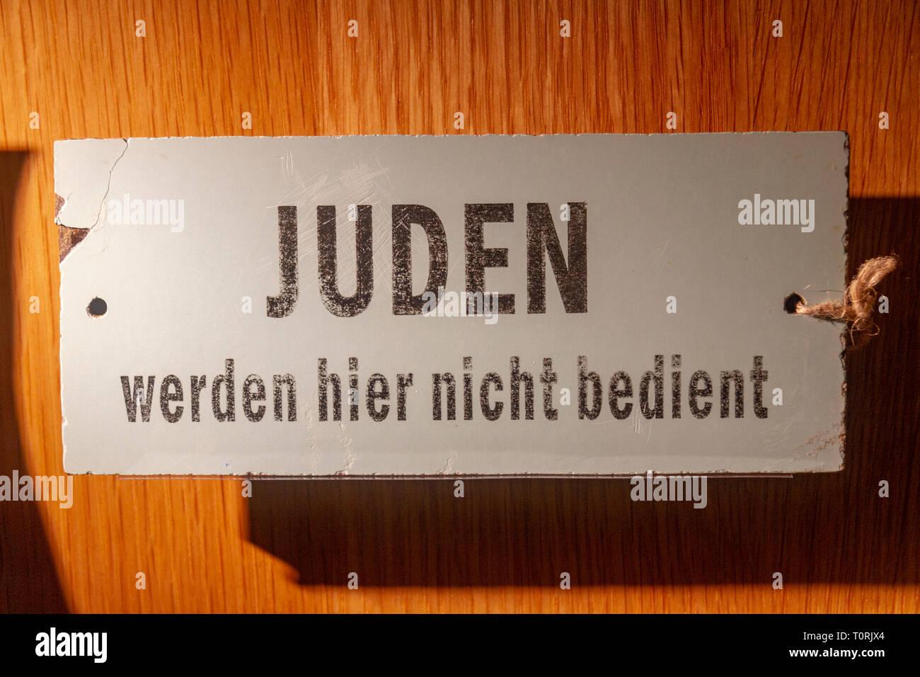 German notice banning Jews from entering an establishment, Mémorial de Caen (Caen Memorial), Normandy, France. - Stock Image