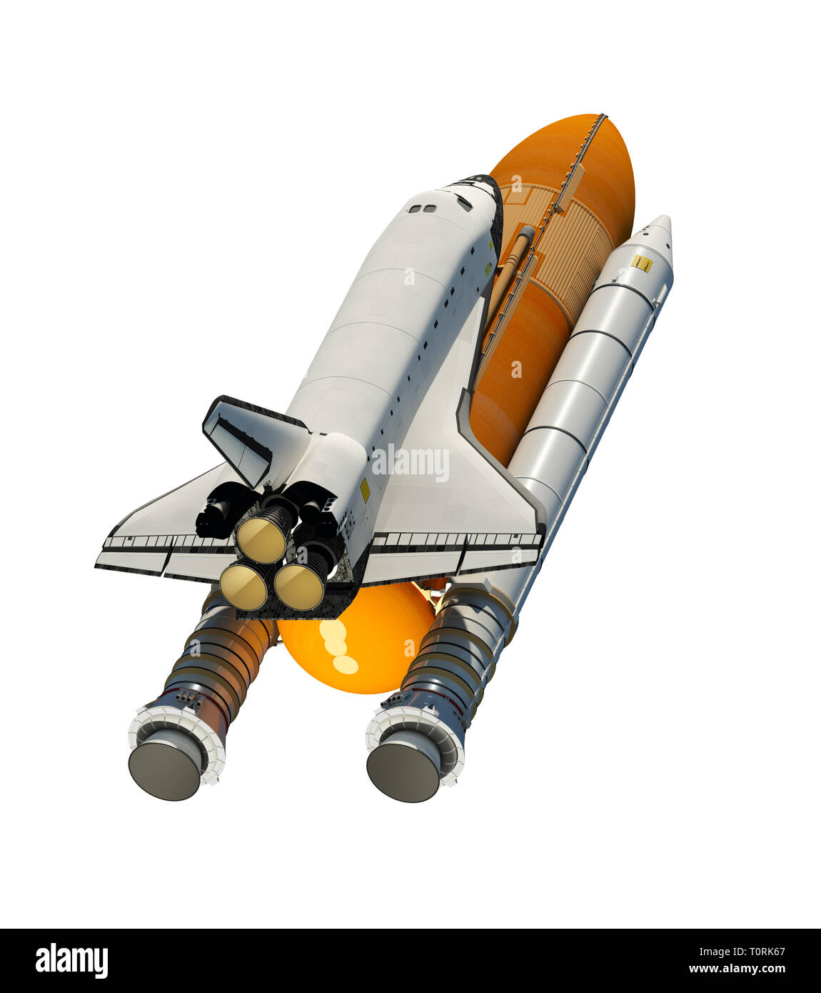 American Space Shuttle Isolated On White Background. 3D Illustration. - Stock Image