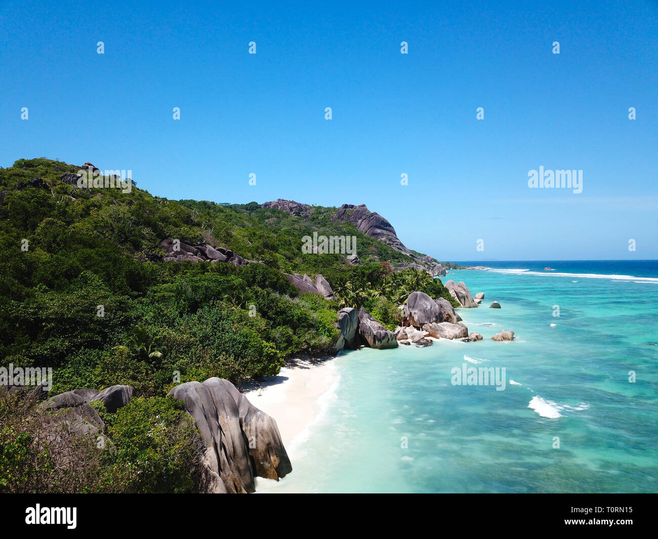 Aerial photo of Anse d'Argent at the Seychelles - Stock Image