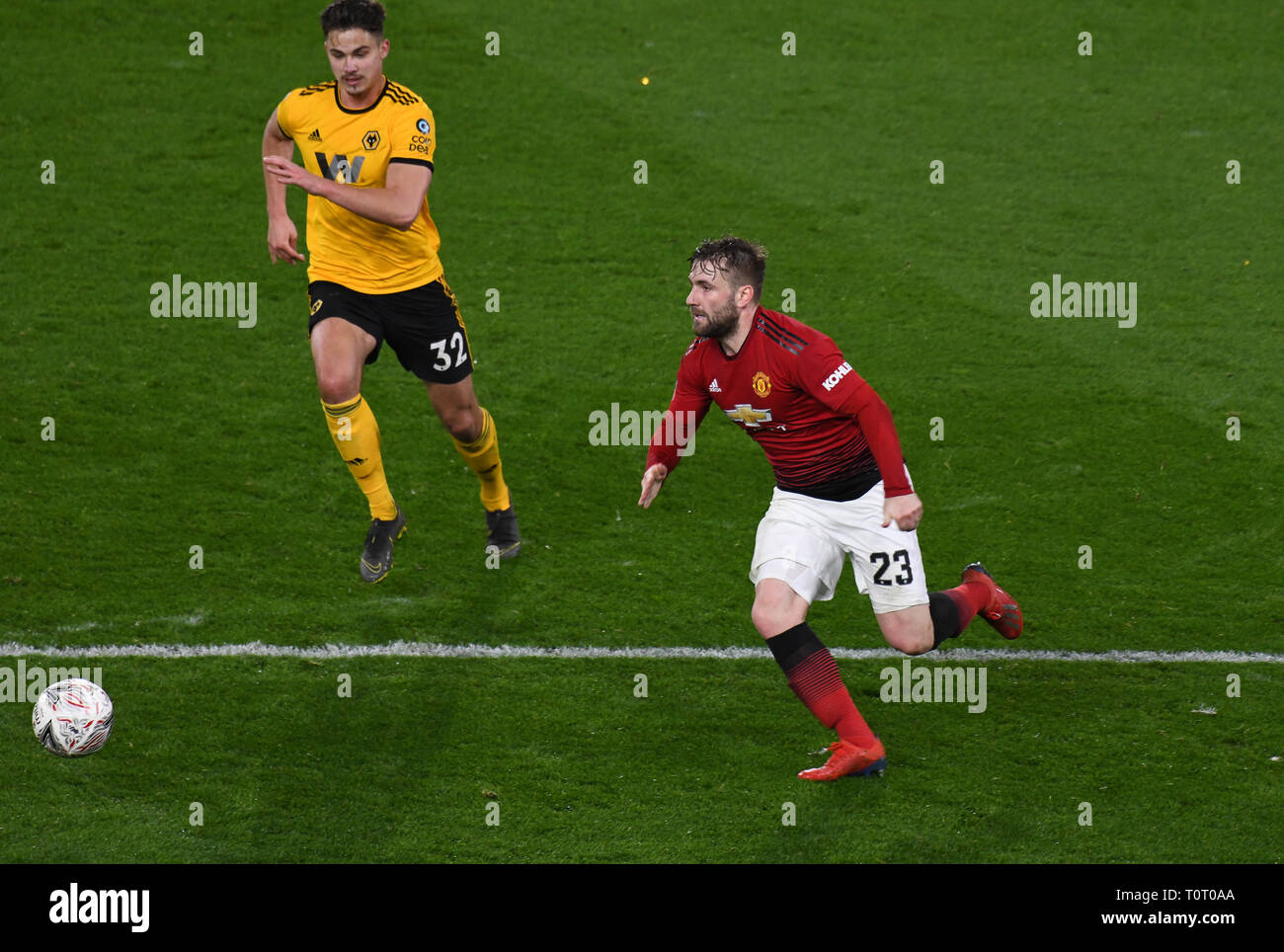 bf1ba341624 Football action footballer Luke Shaw Wolverhampton Wanderers v Manchester  United 2019 - Stock Image