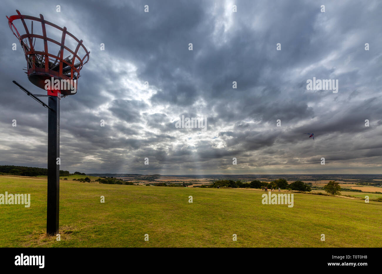 Dunstable Downs in  the Chiltern Hills, Bedfordshire in England - Stock Image