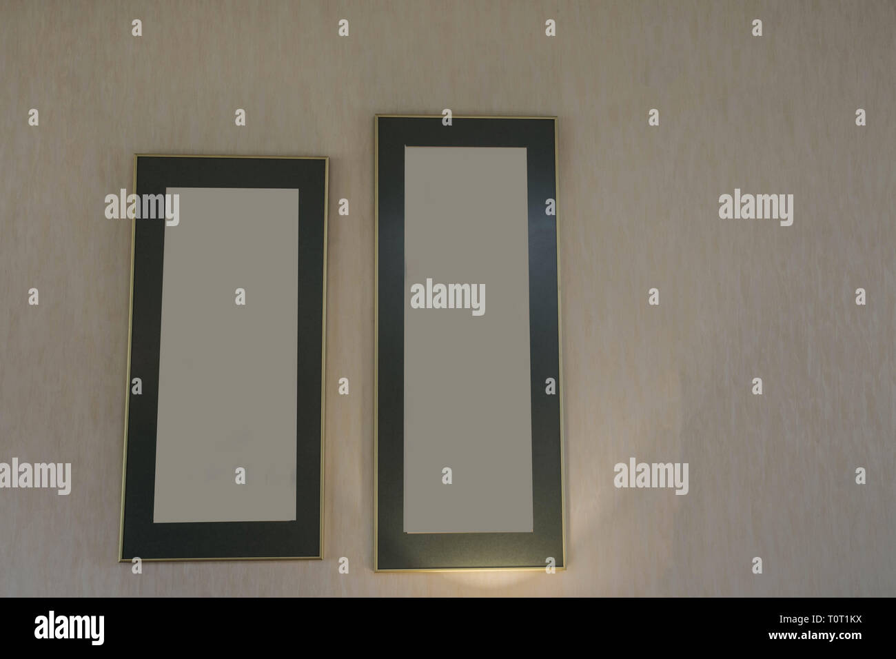 Two Blank frames on the wall, space for text - Stock Image