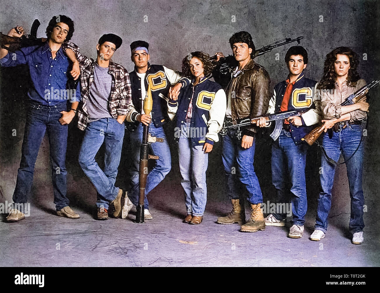 Red Dawn (1984) directed by John Milius and starring Patrick Swayze, C. Thomas Howell and Lea Thompson. A group of teenagers form a resistance movement against Soviet forces invading the mainland USA. - Stock Image