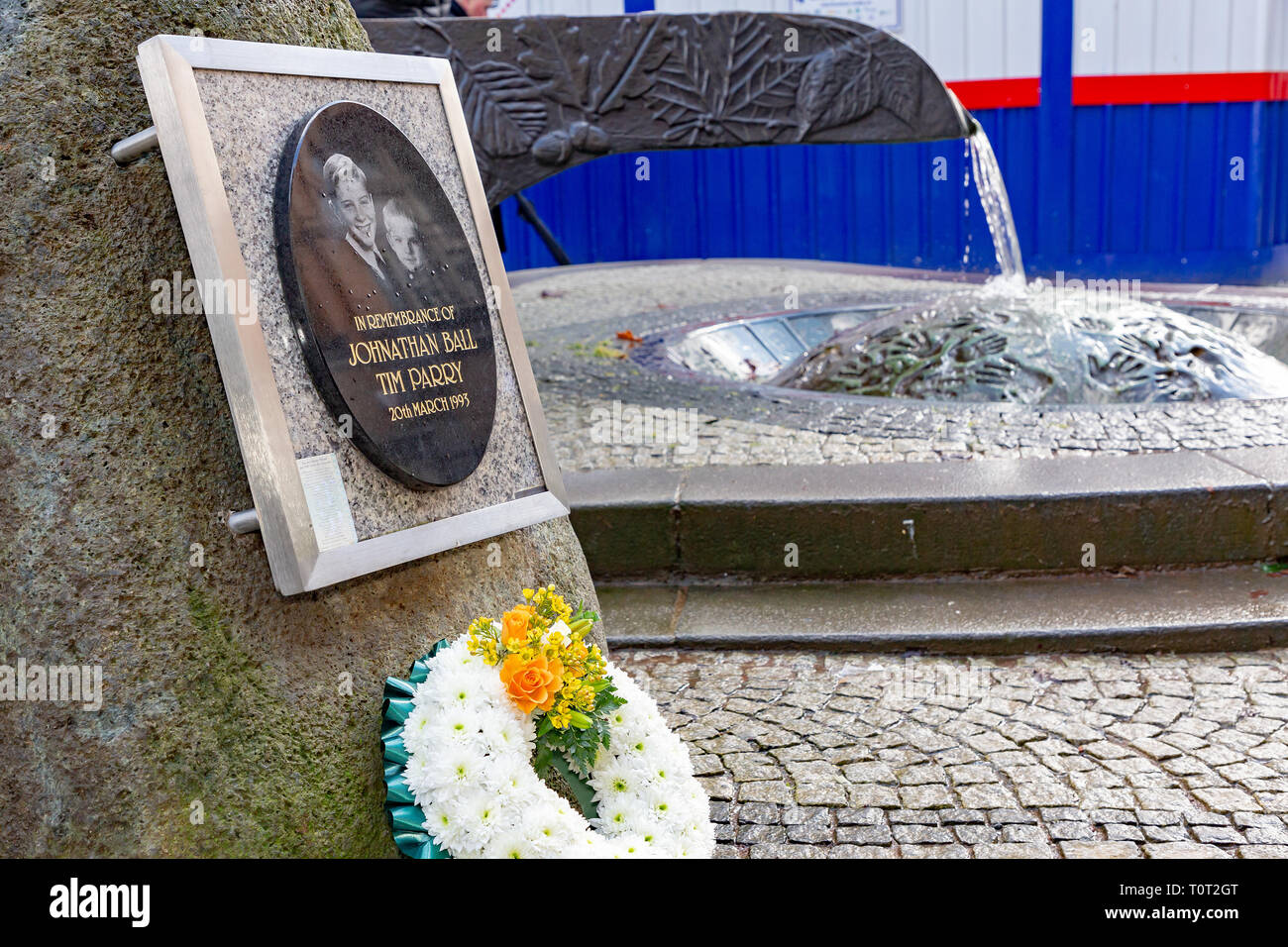 The River of Life' in Bridge Street. A wreath has been laid by the Mayor of Warrington to mark the 26th anniversary of the Warrington Bombing - Stock Image