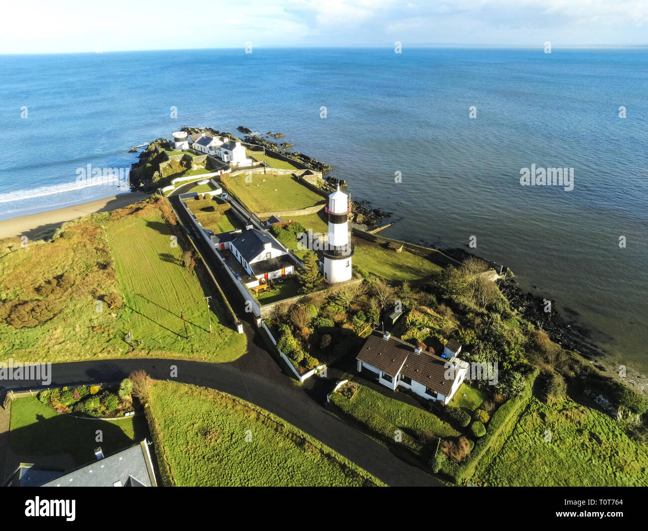 This is an aerial picture of Stroove beach and Lighthouse on the Inishowen penisula, Donegal Ireland - Stock Image