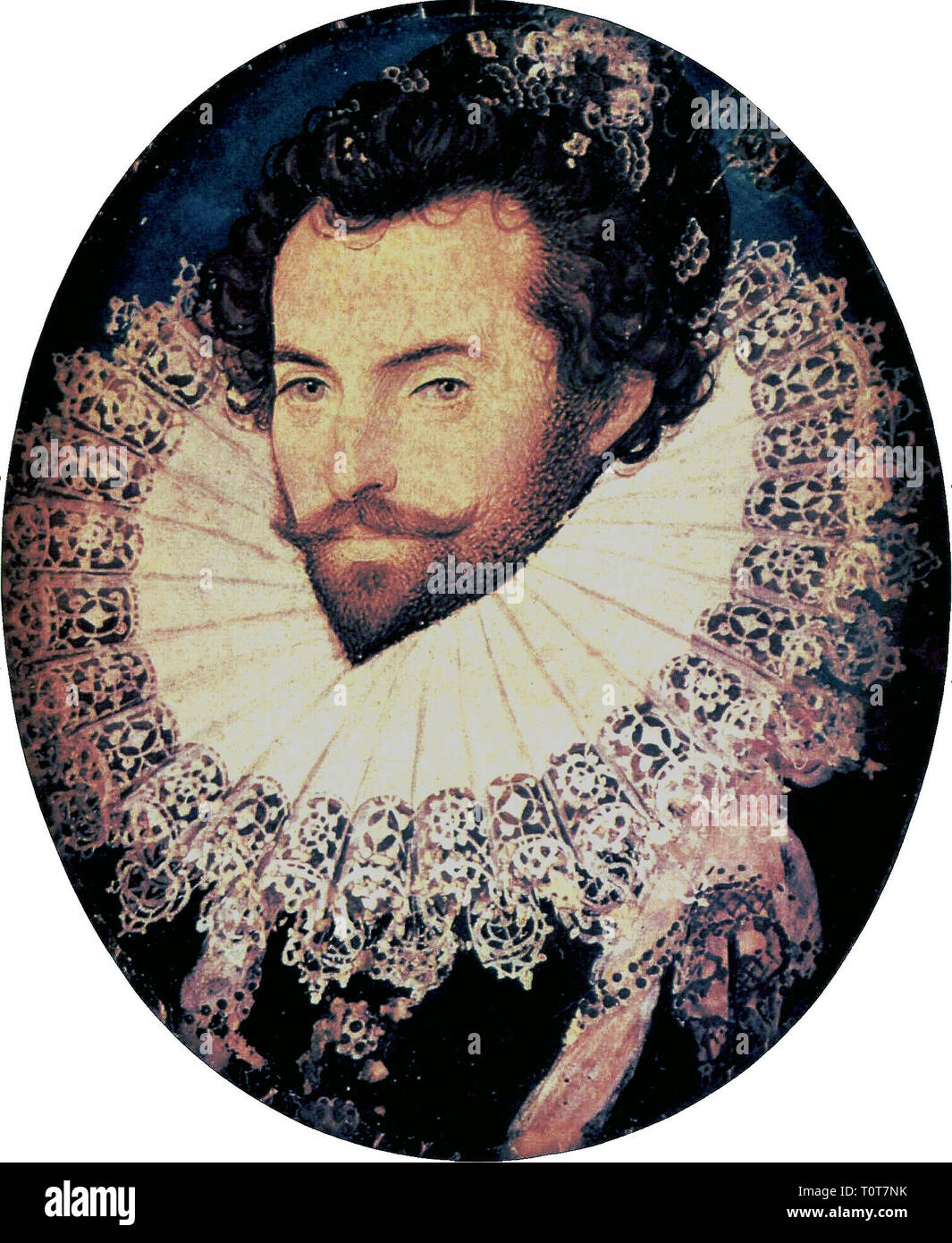 Sir Walter Raleigh, 1585 by Nicholas Hilliard - Stock Image
