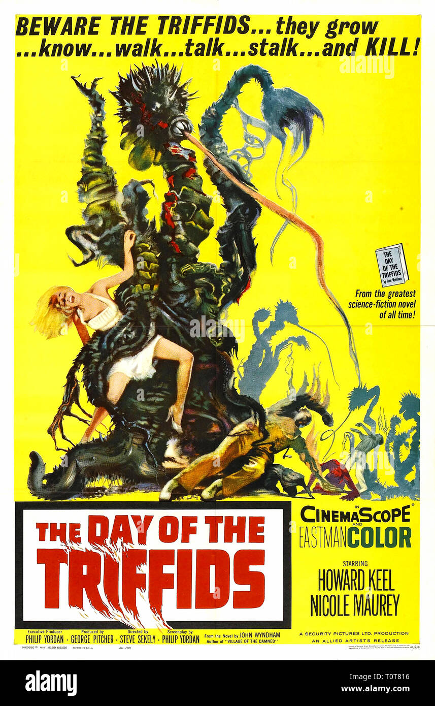 The Day of the Triffids. Poster for the film The Day of the Triffids (1962). The Day of the Triffids, British science fiction film poster - Stock Image