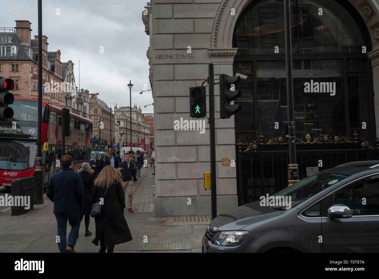 Grey spring afternoon on Arlington Street, St James's, London in United Kingdom Stock Photo