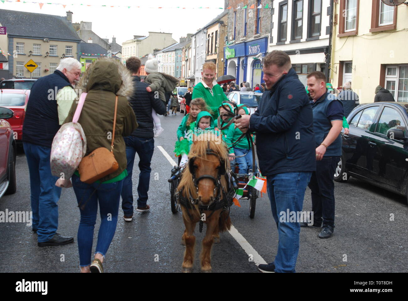 Pony and Trap on St. Patricks Day, Rathkeale,County Limerick, Ireland. - Stock Image