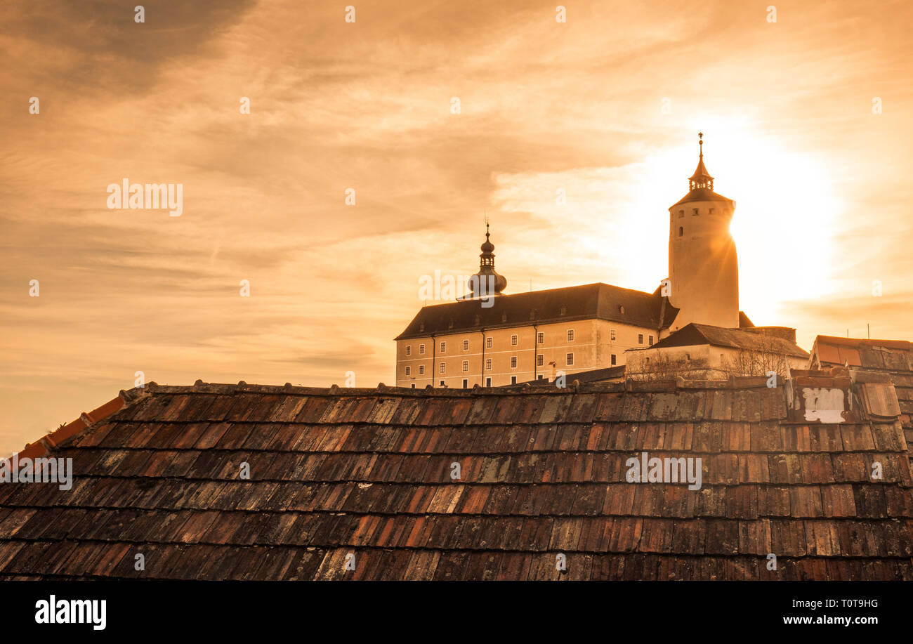 Forchtenstein (Burgenland, Austria) - one of the most beautiful castles in Europe during Sunrise - Stock Image