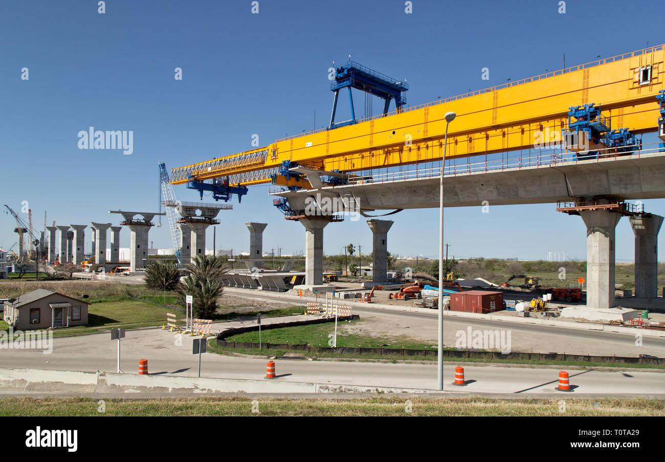 New Harbor Bidge construction, morning light, Corpus Christi, Texas, United States. - Stock Image