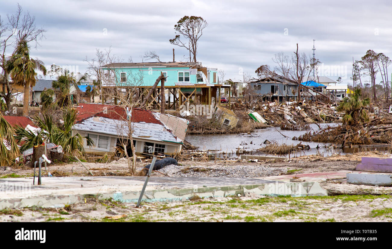Hurricane 'Michael' 2018 destruction,  Mexico Beach, Florida Panhandle. - Stock Image
