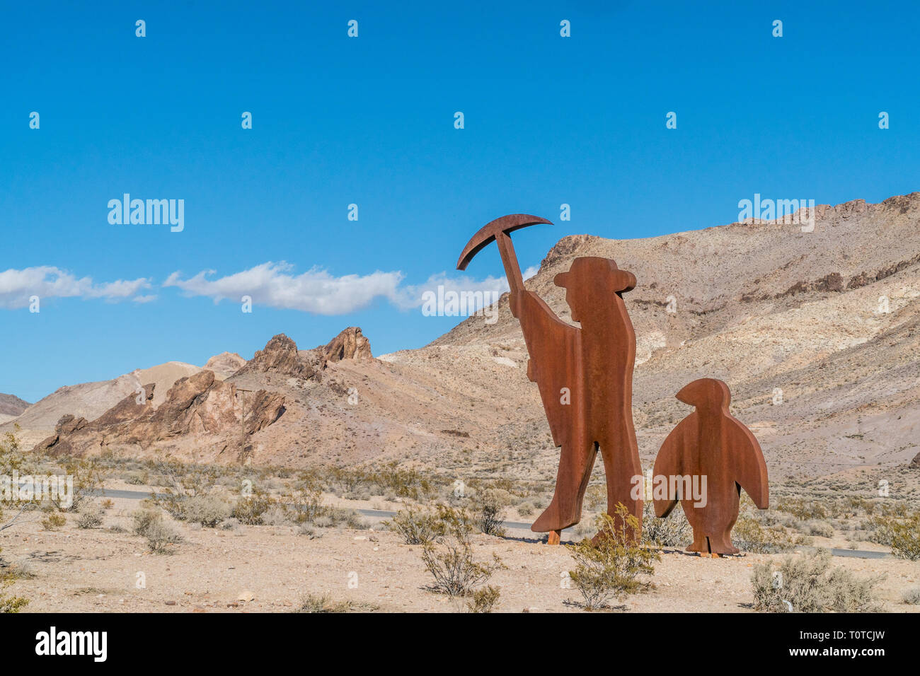 A large size outdoor sculpture, Tribute to Shorty Harris, by  Belgian artist Fred Bervoets, located at the Goldwell Open Air Museum in Rhyolite, Nevad - Stock Image
